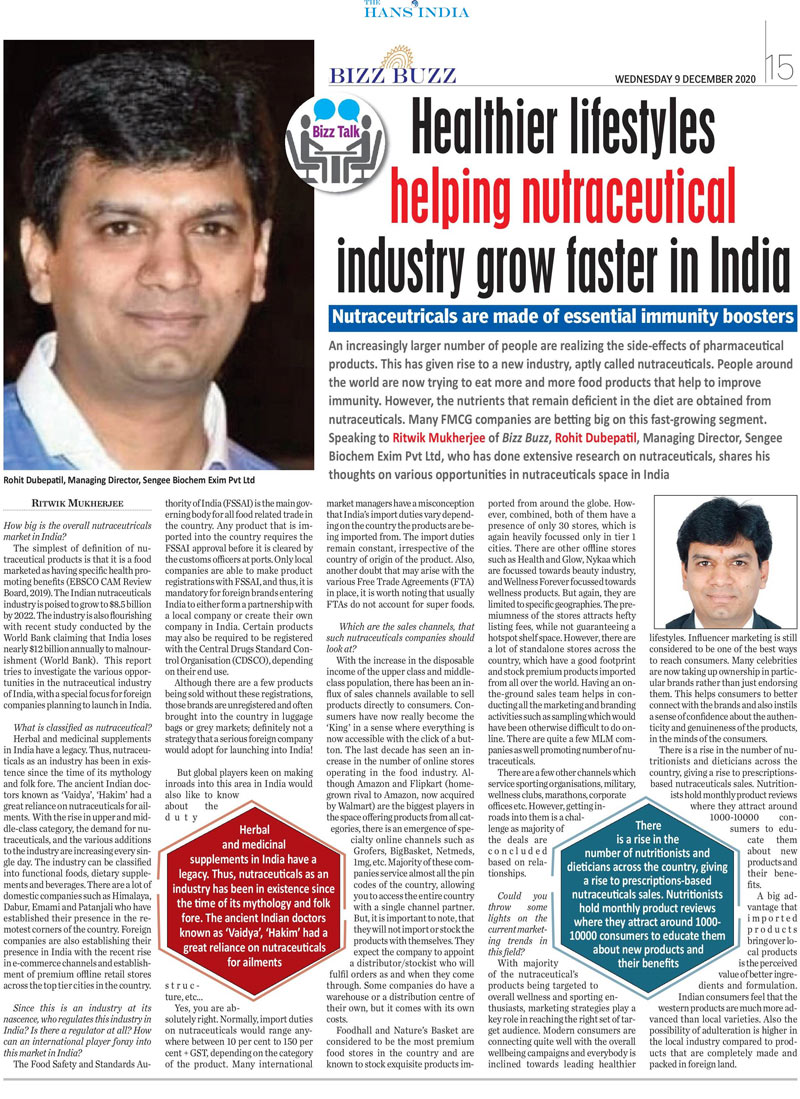 Healthier lifestyleshelping nutraceuticalindustry grow faster in India